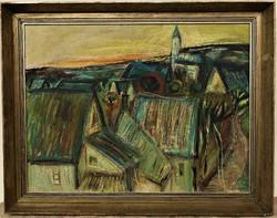 Mersits Piroska (1926-1988) Alsóörs c. képcsarnokos olajfestménye 90x70cm ! EREDETI GARANCIÁVAL !!!!