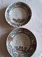 Feliratos, Korond kerámia tányér, fali dísz tányér aranyozott rendezett felirattal