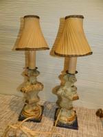 Antik aranyozott art deco fa asztali lámpa eredeti ernyővel.