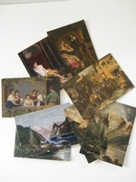 Régi festett képeslapok, zsánerképek, tájképek 8 db