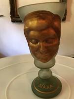 Üveg Diána dísz kehely váza P198