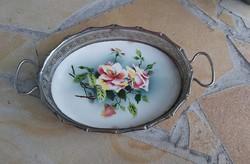 Gyönyörű virágos rózsás  fajanszbetétes tálca. Ritka fajansz szépség.
