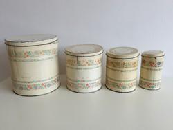 Régi konyhai tároló fém pléh doboz vintage lisztes fűszeres fémdoboz