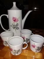 Bazsarózsás Alföldi kávéskanna 4 csészével, retró