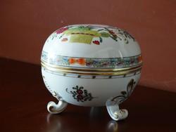 Herendi színes indiai kosár mintás bonbonier, magasság: 10,5 cm