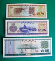KÍNA –1979 - 3 db-os Foreign Exchange Certificates Bankjegy lot - 10, 50 Fen és 1 Yüan