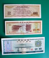 KÍNA –1979 - 3 db-os Foreign Exchange Certificates Bankjegy lot - 10 Fen és 1 Yüan