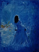 """Kata Szabo: """"blue"""" oil painting 40 x 30 cm, with a nice white wooden frame"""