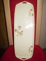 ROYAL IVORY KPM porcelán virágos kínáló tálca 46x15 cm. hibátlan