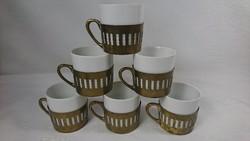 Fraureuth német porcelán poharak, áttört réz betéttel. Funkciójukat tekintve kávés csészék