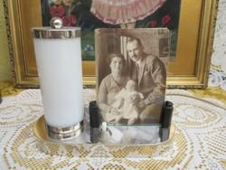 Nikkelezett fényképtartós lámpa