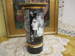 26 cm magas Hollóházi Szász Endre váza