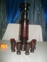 Régi bordó, hántolt, metszett  üveg likőrös, italos készlet - karaffa hat pohárral