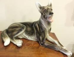 KERAMOS WIEN, nagyméretű / 44 cm hosszú/hibátlan farkas kutya
