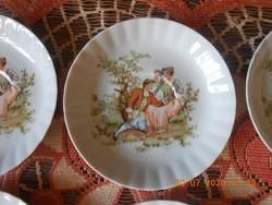 Chodziez porcelán, zsáner jelenetes kis tányérok 6 db