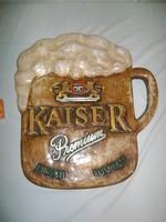 Retro KAISER sör reklám tábla, falikép, falidísz