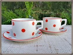 Ritka piros pöttyös Zsolnay porcelán kávés csésze szettek