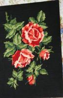 Goblein rózsa akár keretbe akár kárpitnak széktámlához,kifeszitett állapotban