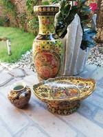 Pazar keleti porcelán trió 40 cm-es váza,asztalközép  , kicsi váza