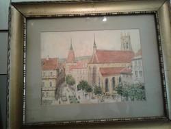 Osztrák város, akvarell Májerszky Róbert
