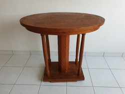 Régi vintage ovális art deco fa asztal