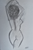 """Kata Szabo: """"nude"""" carbon drawing on 45.5 x 30.5 watercolor paper, beautiful gold frame"""