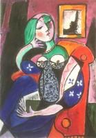 Hepp Natália: Woman with a book, Pablo Pikasso után