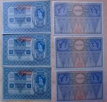 1000 korona 1902 3 db sorszámkövető AUNC hajtatlan Osztrák típus FiX : 10 000.-Ft