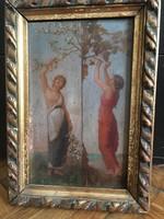 """Csodaszép Jean Benner olajkép 1877-ből """"Tavasz és ősz"""""""