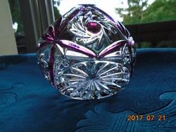 Lila rozettás metszett üveg díszkosár 12x10x8 cm