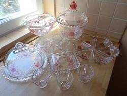 """Walther-Glas """"Annette"""" retro üveg készlet bólés, süteményes kínáló + búra, vajtartó, kínálók"""