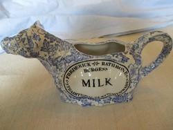 Régi angol fajansz tejszínes kanna, jellegzetes tradicionális forma