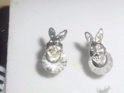Nyuszi Hegyikristály 3D-s 925 Ezüst fülbevaló