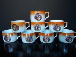 8 db antik Zsolnay porcelán lüszter mázas, zsáner jelenetes teáscsésze