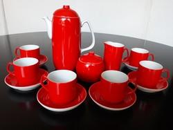 Gyönyörű piros Hollóházi porcelán 6 személyes kávéskészlet