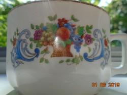 MCP Antik cseh mélynyomással számozott teás csésze virág és gyümölcs kosár mintával