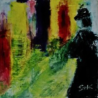 """Kata Szabo: """"over the road"""", acrylic painting, canvas, 30 x 30 cm, signed"""