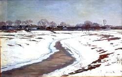 Szlányi Lajos (1869 - 1949): Téli táj Szolnoknál