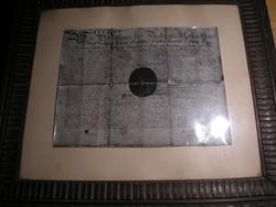 Nemesi címeres gótbetűs üveglapos oklevél másolat 47x 43 cm