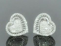 Szív a szívben Cirkónia kr. köves 925 ezüst Fülbevaló