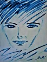 "Kata Szabo: ""portre"" oil painting 50 x 40 wood fibers, nice frame, signed"