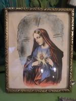 24,5 x19,5 cm-es , selyemre festett , Máriát ábrázoló szentkép .