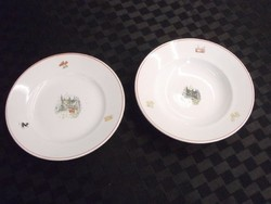 Gránit porcelán mély és lapos mesés tányérok 2 db