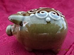 Német porcelán sószóró, szerencsemalac formájú, hossza 6,5 cm.