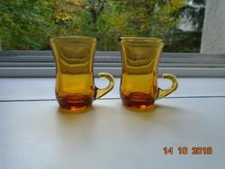 2 db francia Reims borostyán üveg,füles vastagfalú pohár