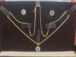 Klasszikus nőies ékszer kollekció 14 karátos arany aquamarine, cirkónia