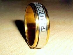 Görög mint. Arany-Ezüst Nemesacél uniszex Karikagyűrű 8-as