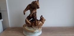 Zsolnay porcelán birkózó medve medvék