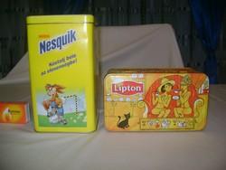Régi, retro lemez doboz, fém doboz - Nesquik, Lipton - két darab