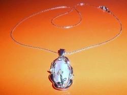 Valódi Japán Óriás Biwa Igazgyöngy ezüst  Nyaklánc